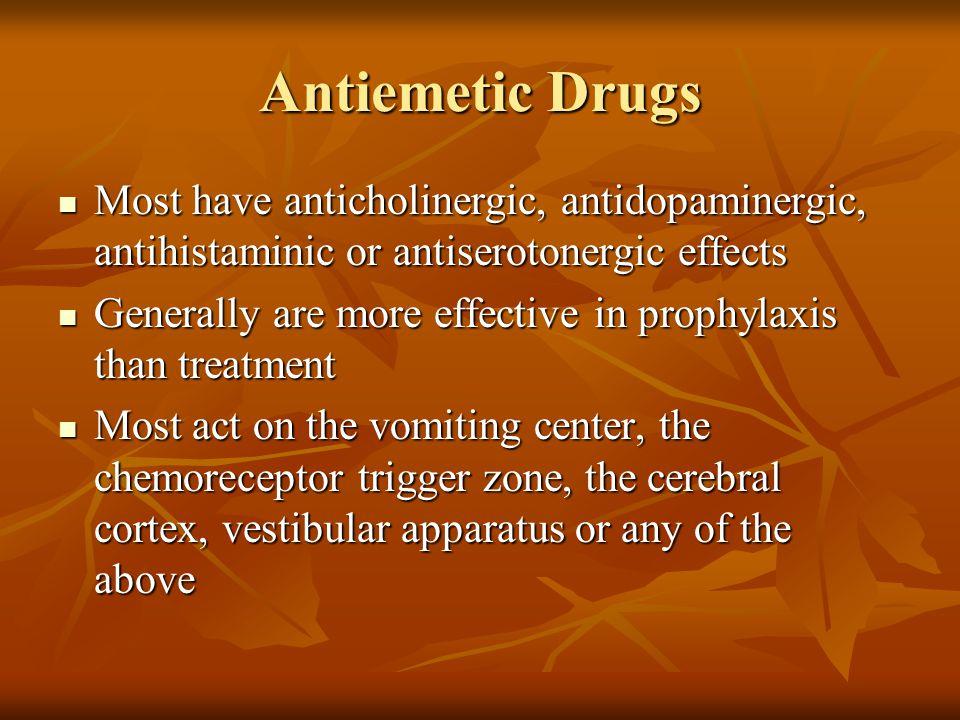 Antiemetic Drugs Most have anticholinergic, antidopaminergic, antihistaminic or antiserotonergic effects Most have anticholinergic, antidopaminergic,