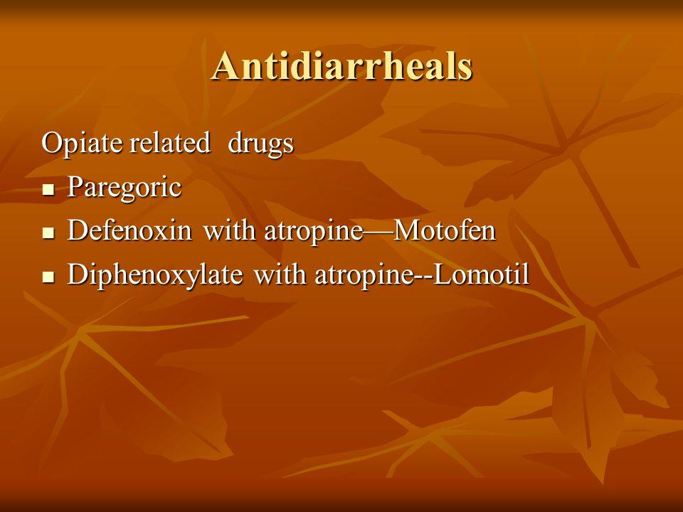 Antidiarrheals Opiate related drugs Paregoric Paregoric Defenoxin with atropine—Motofen Defenoxin with atropine—Motofen Diphenoxylate with atropine--L