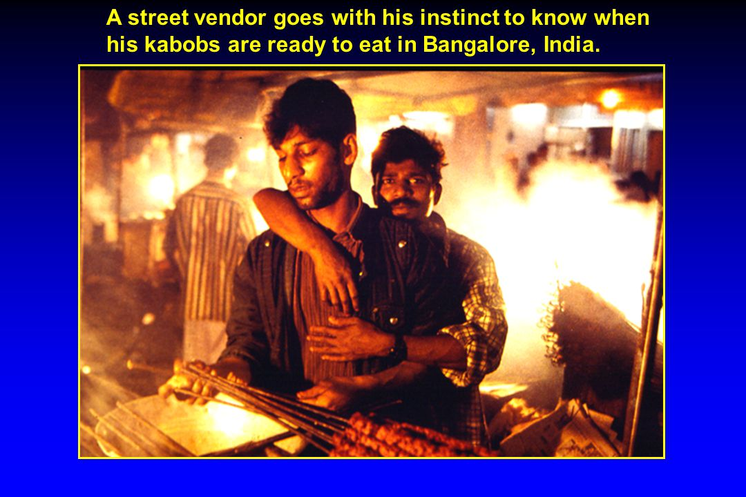 A street vendor goes with his instinct to know when his kabobs are ready to eat in Bangalore, India.