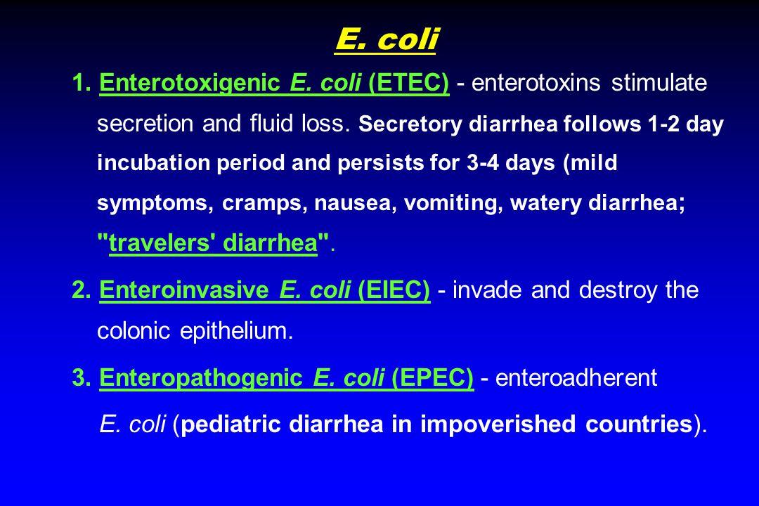 E. coli 1. Enterotoxigenic E. coli (ETEC) - enterotoxins stimulate secretion and fluid loss.