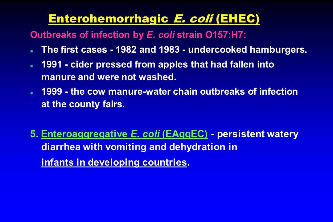 Enterohemorrhagic E. coli (EHEC) Outbreaks of infection by E.