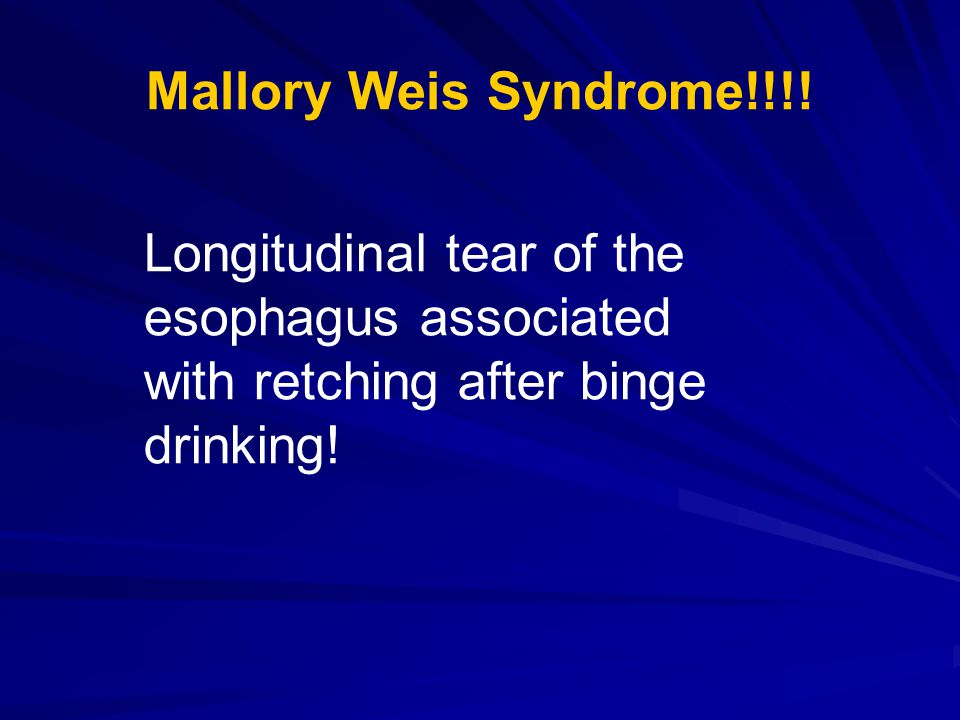 Mallory Weis Syndrome!!!.