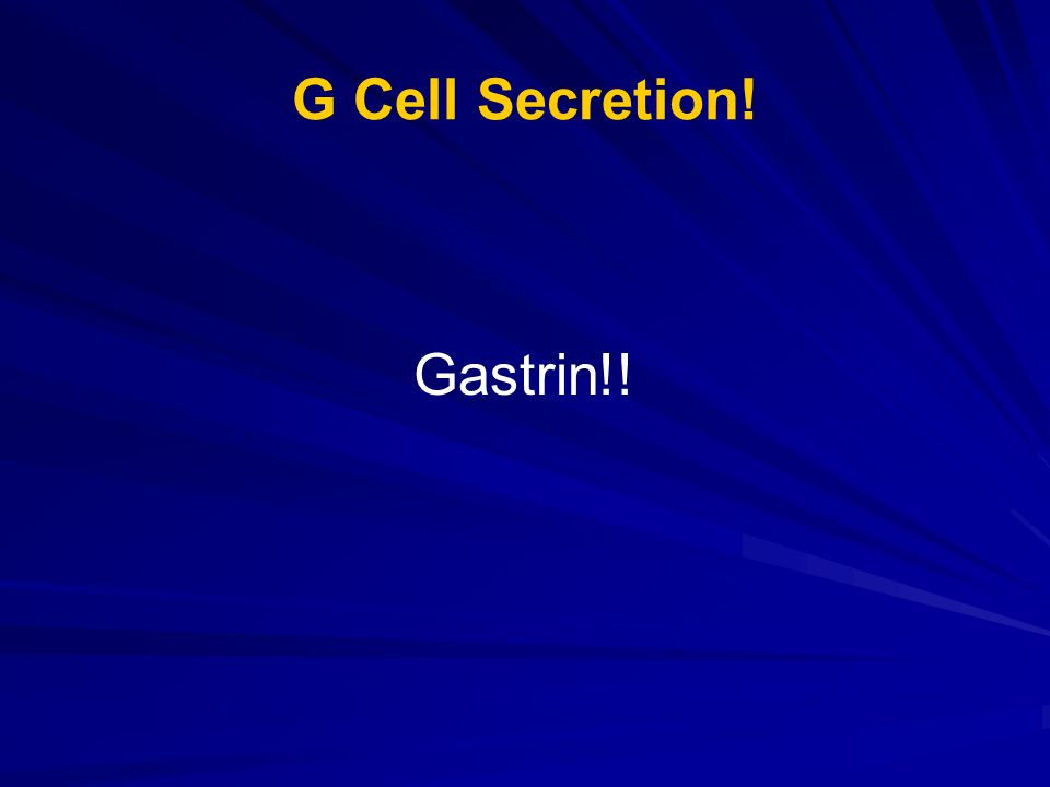 G Cell Secretion! Gastrin!!