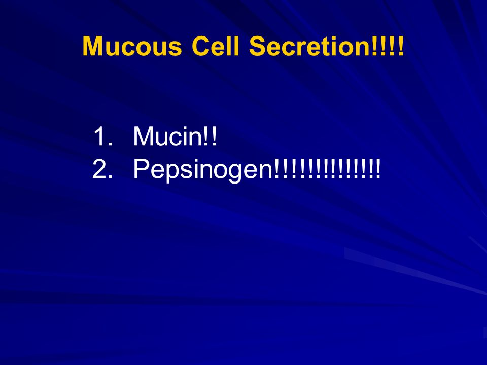 Mucous Cell Secretion!!!! 1.Mucin!! 2.Pepsinogen!!!!!!!!!!!!!!