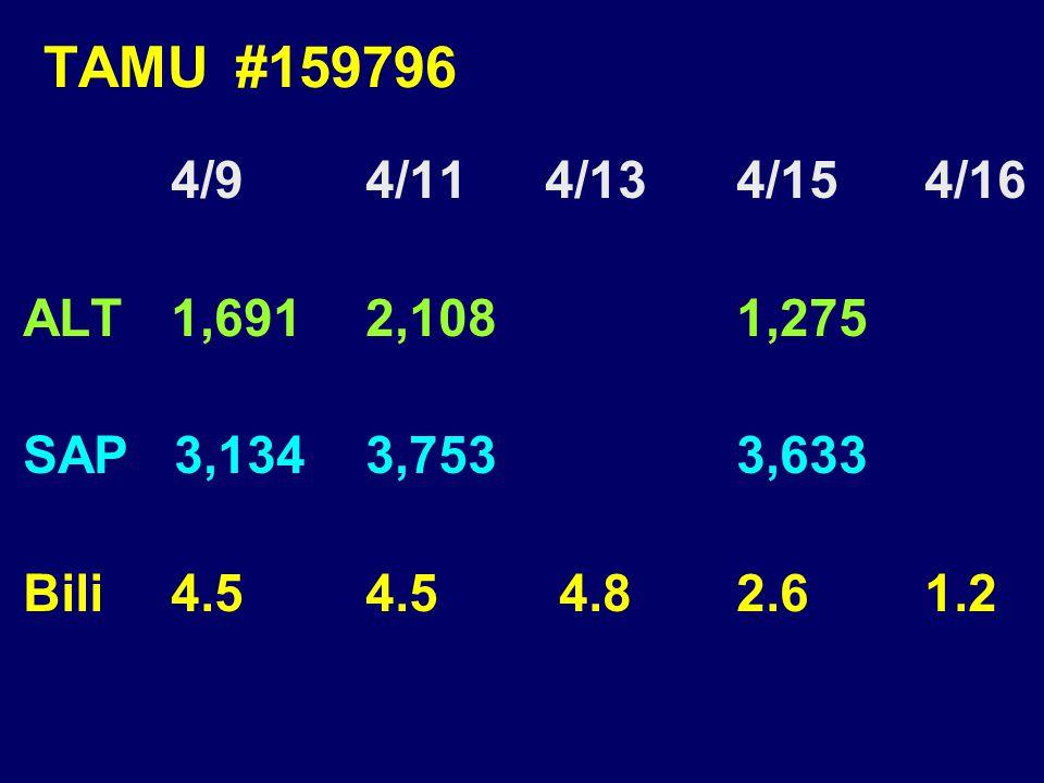 TAMU #159796 4/9 4/114/13 4/15 4/16 ALT 1,691 2,108 1,275 SAP 3,134 3,753 3,633 Bili 4.5 4.5 4.8 2.6 1.2