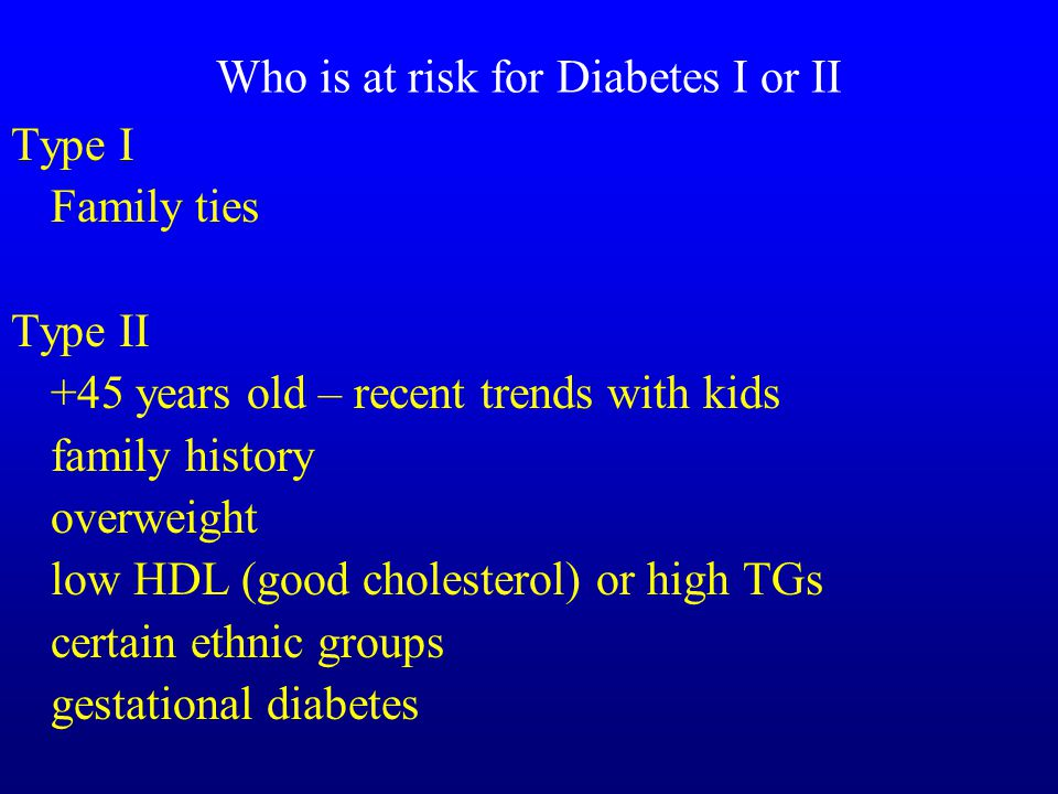 Who is at risk for Diabetes I or II Type I Family ties Type II +45 years old – recent trends with kids family history overweight low HDL (good cholesterol) or high TGs certain ethnic groups gestational diabetes