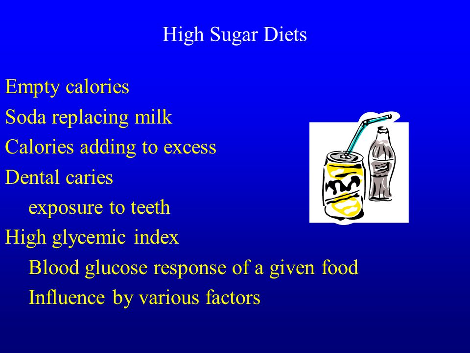 High Sugar Diets Empty calories Soda replacing milk Calories adding to excess Dental caries exposure to teeth High glycemic index Blood glucose response of a given food Influence by various factors