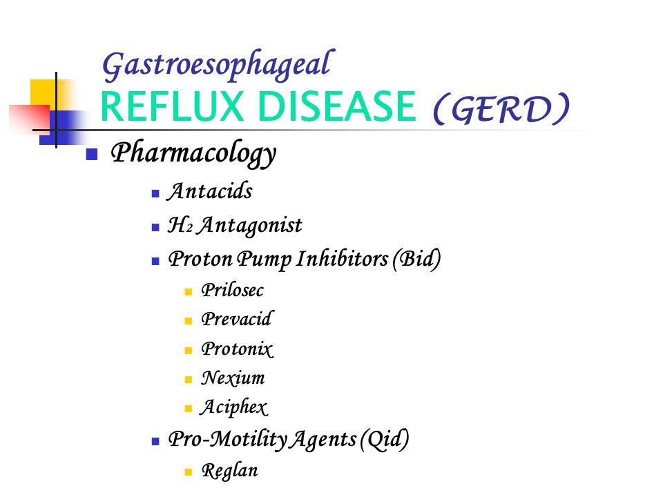 Gastroesophageal REFLUX DISEASE (GERD) Pharmacology Antacids H 2 Antagonist Proton Pump Inhibitors (Bid) Prilosec Prevacid Protonix Nexium Aciphex Pro