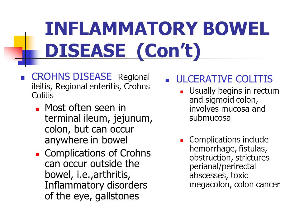 INFLAMMATORY BOWEL DISEASE (Con't) CROHNS DISEASE Regional ileitis, Regional enteritis, Crohns Colitis Most often seen in terminal ileum, jejunum, col