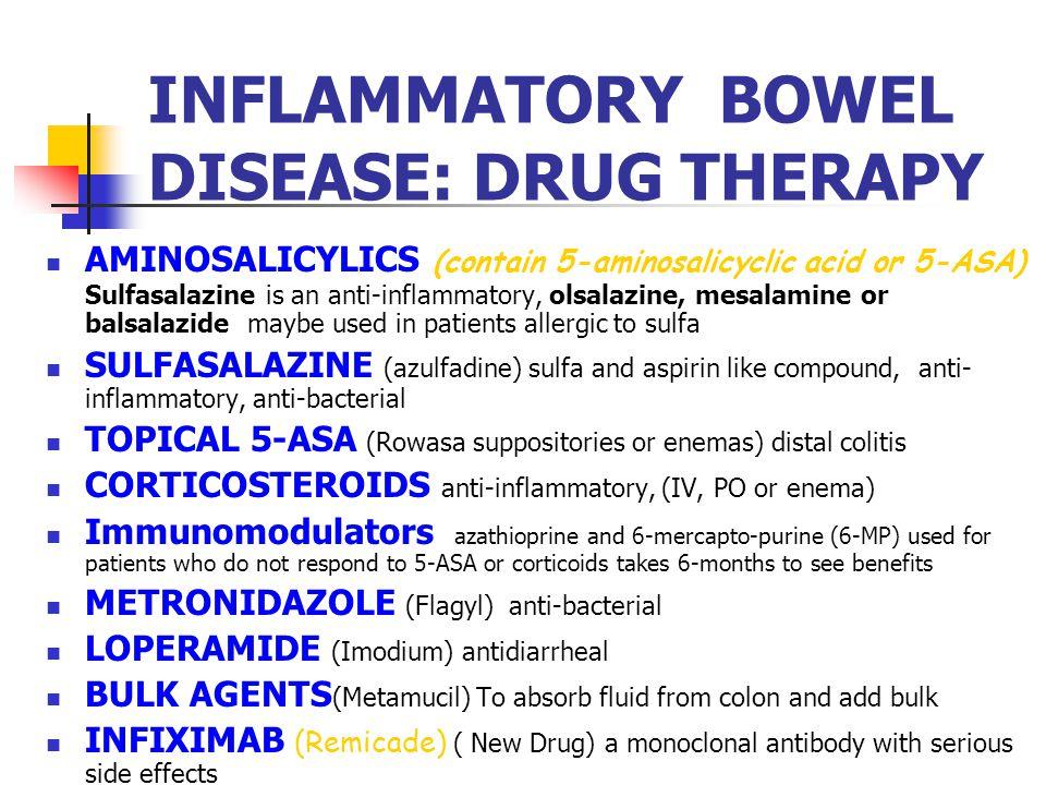AMINOSALICYLICS (contain 5-aminosalicyclic acid or 5-ASA) Sulfasalazine is an anti-inflammatory, olsalazine, mesalamine or balsalazide maybe used in p