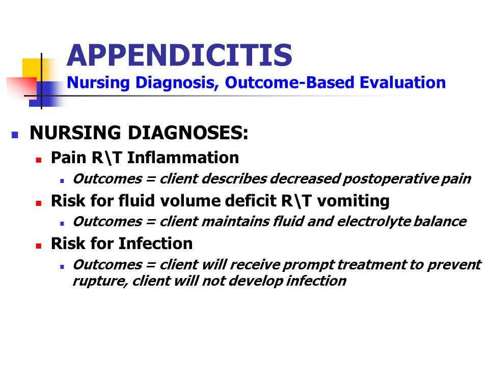 APPENDICITIS Nursing Diagnosis, Outcome-Based Evaluation NURSING DIAGNOSES: Pain R\T Inflammation Outcomes = client describes decreased postoperative