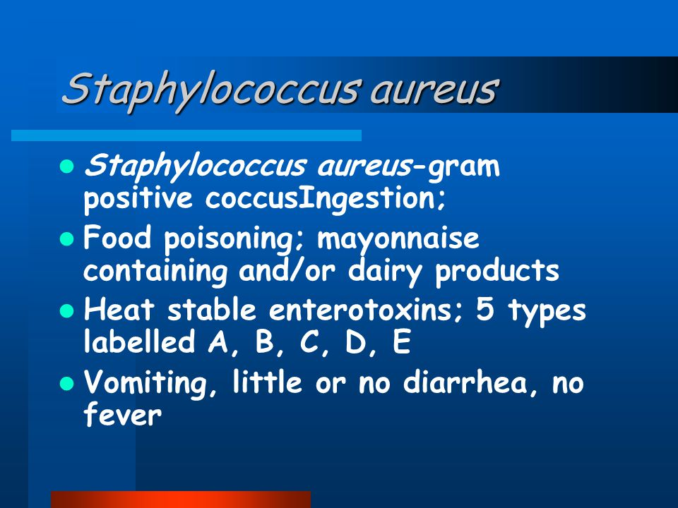 Staphylococcus aureus Staphylococcus aureus-gram positive coccusIngestion; Food poisoning; mayonnaise containing and/or dairy products Heat stable enterotoxins; 5 types labelled A, B, C, D, E Vomiting, little or no diarrhea, no fever