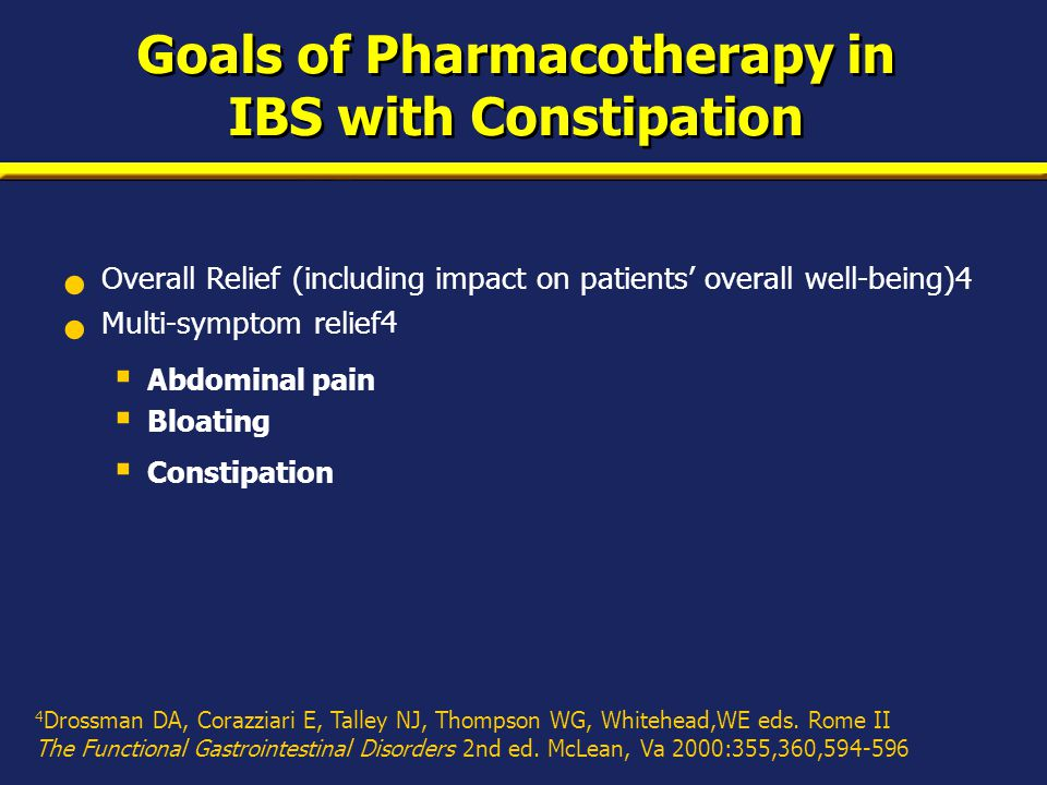 Goals of Pharmacotherapy in IBS with Constipation Overall Relief (including impact on patients' overall well-being)4 Multi-symptom relief 4  Abdominal pain  Bloating  Constipation 4 Drossman DA, Corazziari E, Talley NJ, Thompson WG, Whitehead,WE eds.