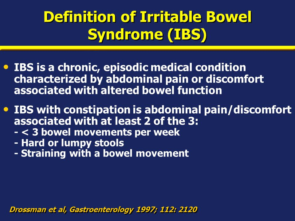 Overall prevalence of IBS greater in females Drossman et al, Dig Dis Sci 1993; 38: 1569 Ages (years) Prevalence (%) 0 14 15–3435–44>45 13.5 13.0 9.4 Female Male