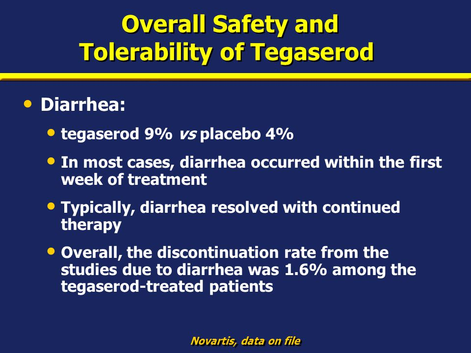 Overall Safety and Tolerability of Tegaserod Diarrhea: tegaserod 9% vs placebo 4% In most cases, diarrhea occurred within the first week of treatment
