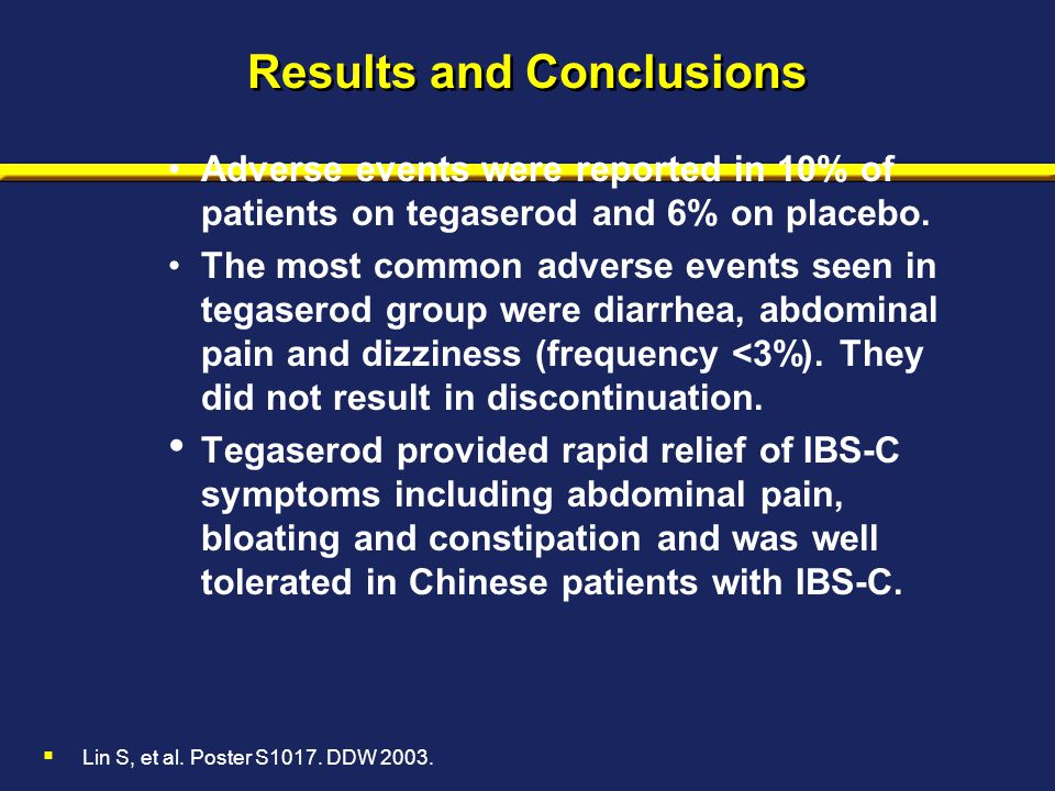 Results and Conclusions Adverse events were reported in 10% of patients on tegaserod and 6% on placebo. The most common adverse events seen in tegaser