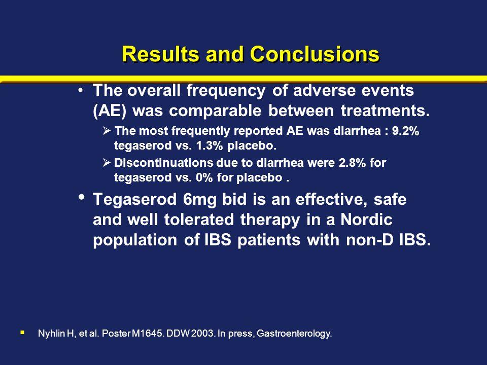 Results and Conclusions The overall frequency of adverse events (AE) was comparable between treatments.