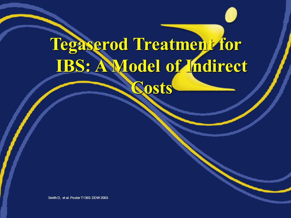 Tegaserod Treatment for IBS: A Model of Indirect Costs Smith D, et al. Poster T1303. DDW 2003.