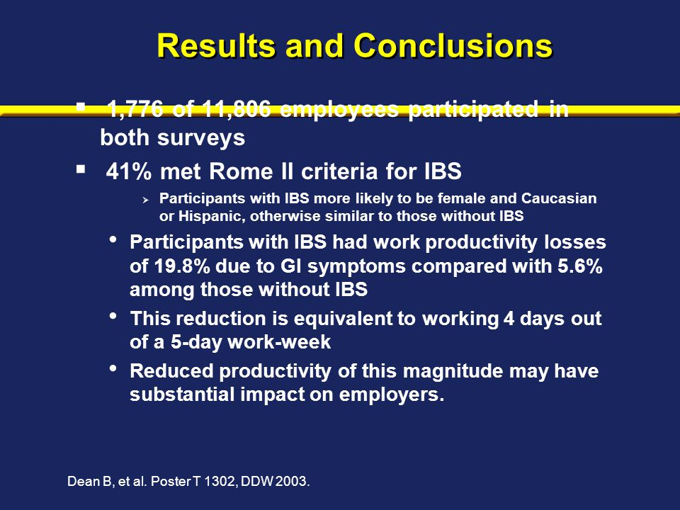 Results and Conclusions  1,776 of 11,806 employees participated in both surveys  41% met Rome II criteria for IBS  Participants with IBS more likel