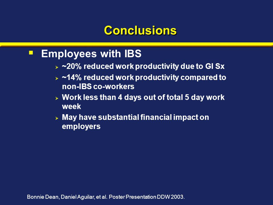 Conclusions  Employees with IBS  ~20% reduced work productivity due to GI Sx  ~14% reduced work productivity compared to non-IBS co-workers  Work less than 4 days out of total 5 day work week  May have substantial financial impact on employers Bonnie Dean, Daniel Aguilar, et al.