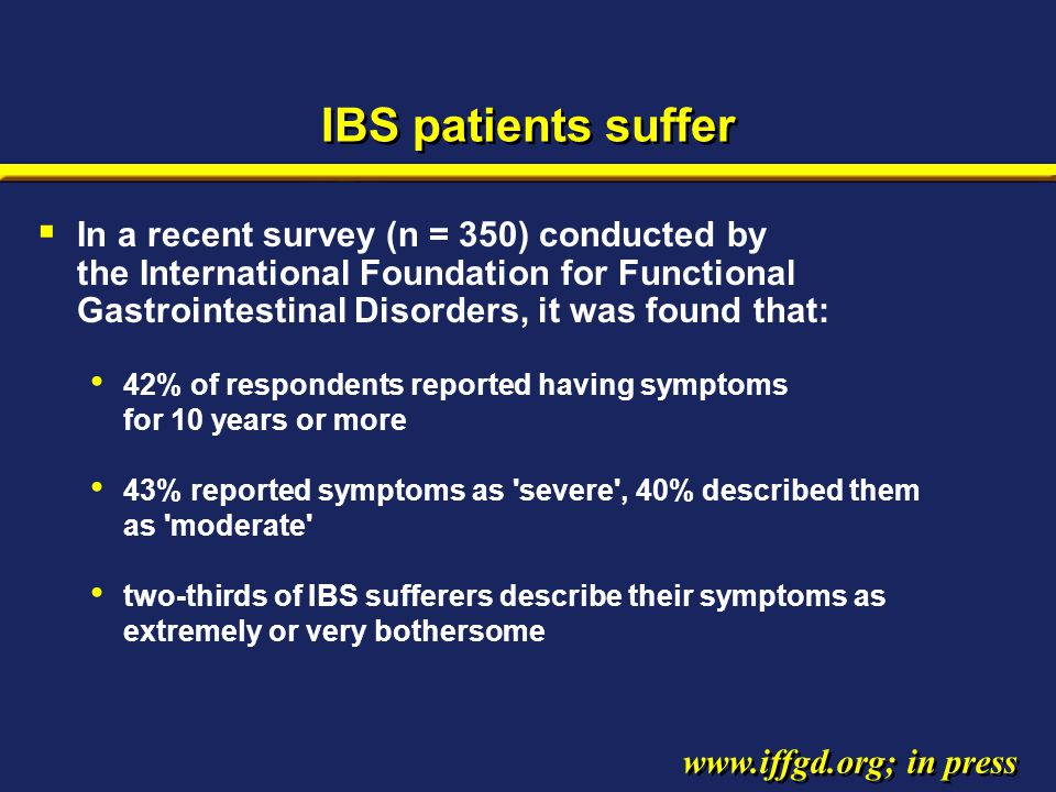 IBS patients suffer  In a recent survey (n = 350) conducted by the International Foundation for Functional Gastrointestinal Disorders, it was found t