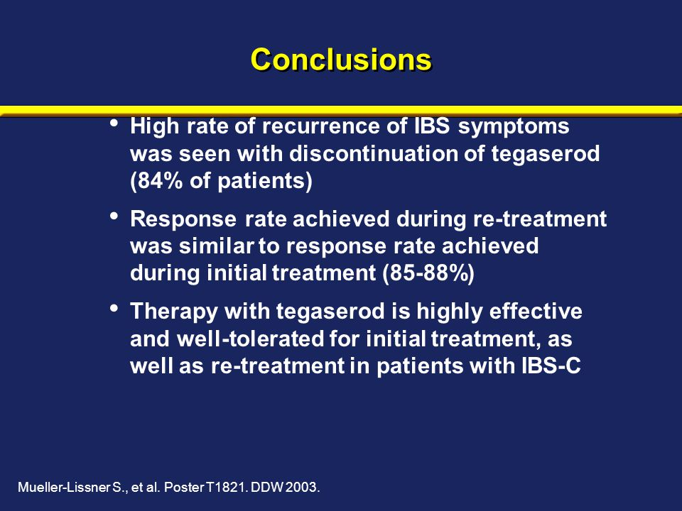 Conclusions High rate of recurrence of IBS symptoms was seen with discontinuation of tegaserod (84% of patients) Response rate achieved during re-trea