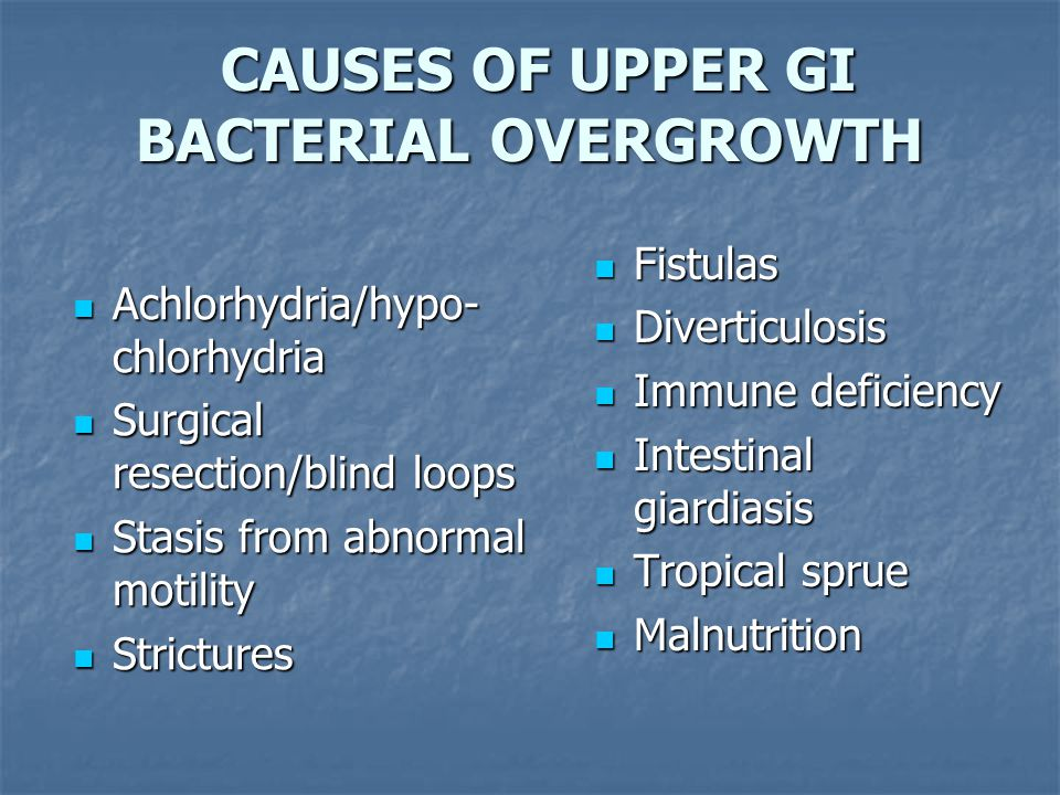 CAUSES OF UPPER GI BACTERIAL OVERGROWTH CAUSES OF UPPER GI BACTERIAL OVERGROWTH Achlorhydria/hypo- chlorhydria Achlorhydria/hypo- chlorhydria Surgical resection/blind loops Surgical resection/blind loops Stasis from abnormal motility Stasis from abnormal motility Strictures Strictures Fistulas Fistulas Diverticulosis Diverticulosis Immune deficiency Immune deficiency Intestinal giardiasis Intestinal giardiasis Tropical sprue Tropical sprue Malnutrition Malnutrition
