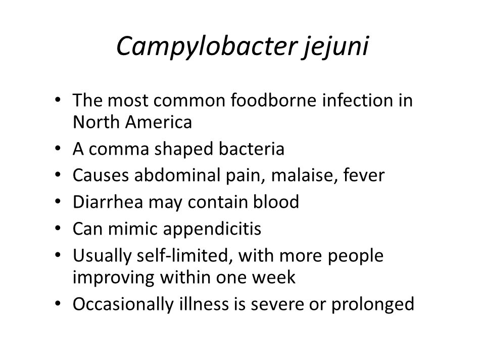 Campylobacter jejuni The most common foodborne infection in North America A comma shaped bacteria Causes abdominal pain, malaise, fever Diarrhea may contain blood Can mimic appendicitis Usually self-limited, with more people improving within one week Occasionally illness is severe or prolonged