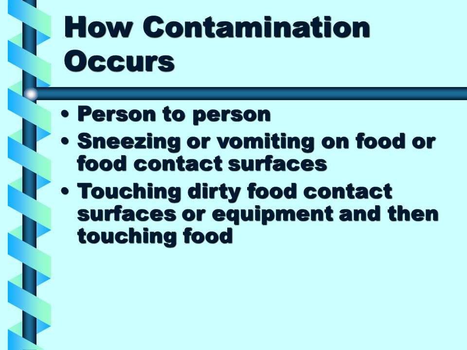 How Contamination Occurs Person to personPerson to person Sneezing or vomiting on food or food contact surfacesSneezing or vomiting on food or food contact surfaces Touching dirty food contact surfaces or equipment and then touching foodTouching dirty food contact surfaces or equipment and then touching food