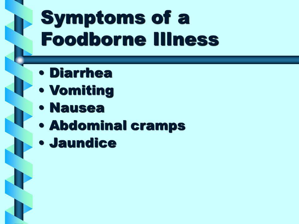 Symptoms of a Foodborne Illness DiarrheaDiarrhea VomitingVomiting NauseaNausea Abdominal crampsAbdominal cramps JaundiceJaundice