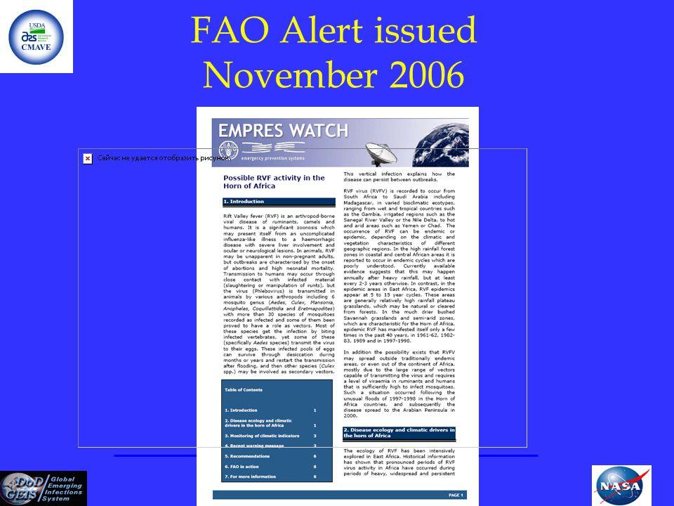 FAO Alert issued November 2006