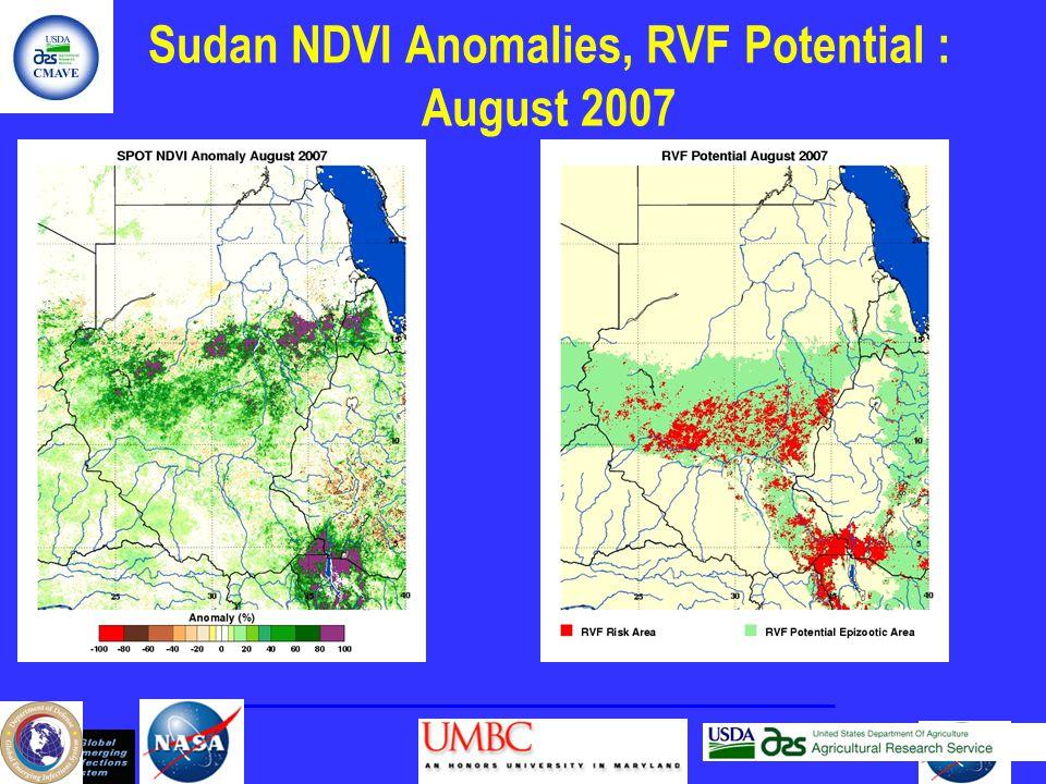 Sudan NDVI Anomalies, RVF Potential : August 2007