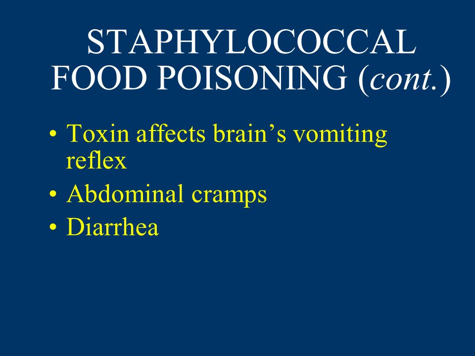 STAPHYLOCOCCAL FOOD POISONING (cont.) Toxin affects brain's vomiting reflex Abdominal cramps Diarrhea