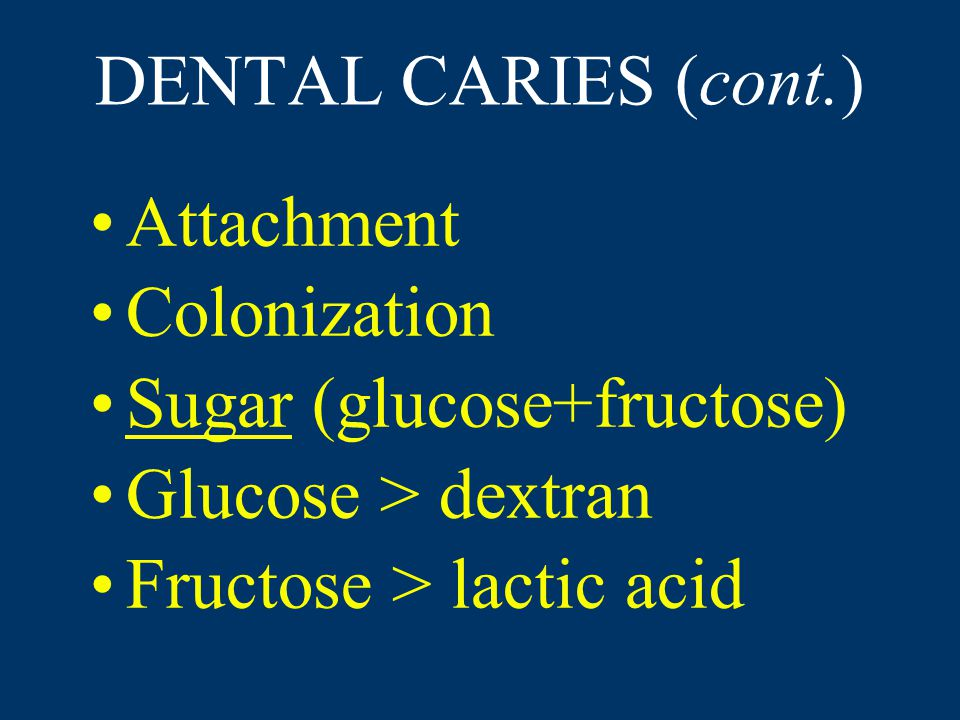 DENTAL CARIES (cont.) Attachment Colonization Sugar (glucose+fructose) Glucose > dextran Fructose > lactic acid