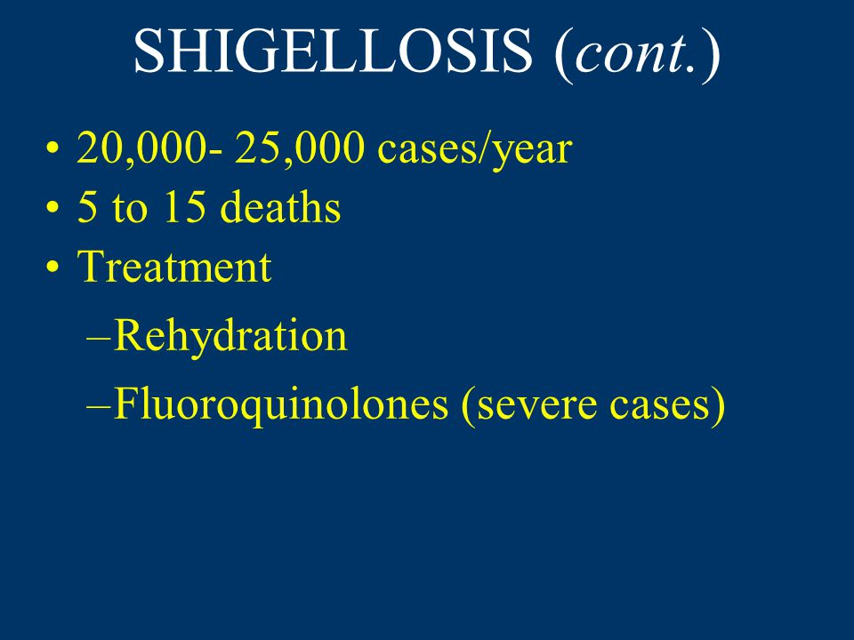 SHIGELLOSIS (cont.) 20,000- 25,000 cases/year 5 to 15 deaths Treatment –Rehydration –Fluoroquinolones (severe cases)