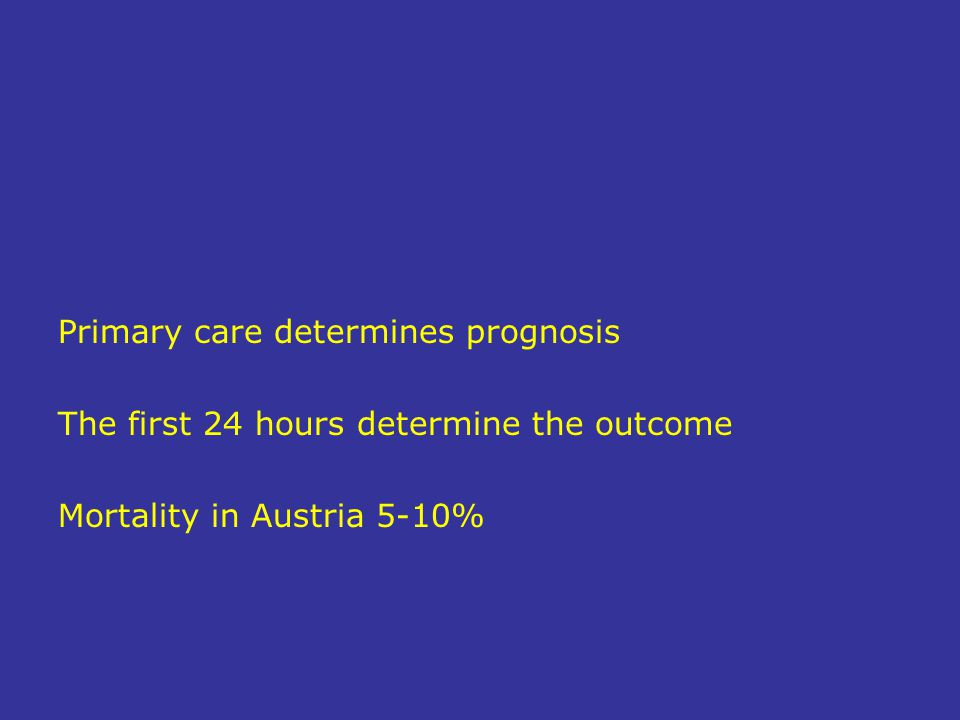 Primary care determines prognosis The first 24 hours determine the outcome Mortality in Austria 5-10%
