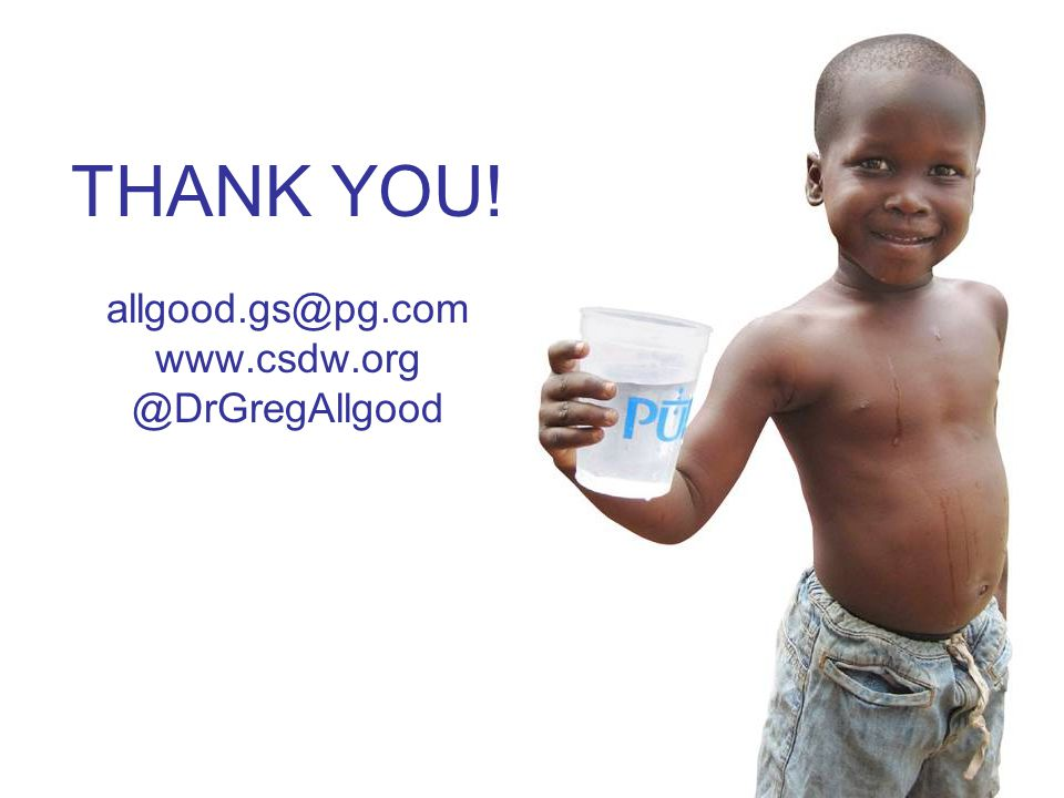 19 THANK YOU! allgood.gs@pg.com www.csdw.org @DrGregAllgood