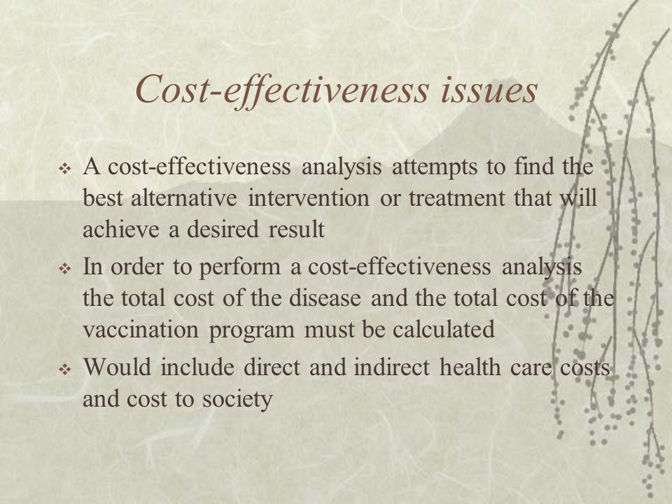 Cost-effectiveness issues  A cost-effectiveness analysis attempts to find the best alternative intervention or treatment that will achieve a desired result  In order to perform a cost-effectiveness analysis the total cost of the disease and the total cost of the vaccination program must be calculated  Would include direct and indirect health care costs and cost to society