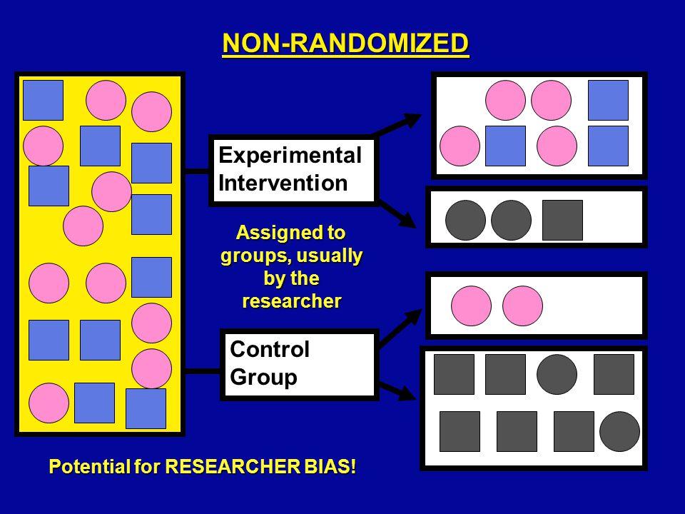 RANDOMIZED Experimental Intervention Control Group Random method of assignment used Maximizes sameness, Eliminates BIAS!