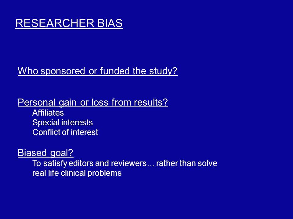 Criteria bias.