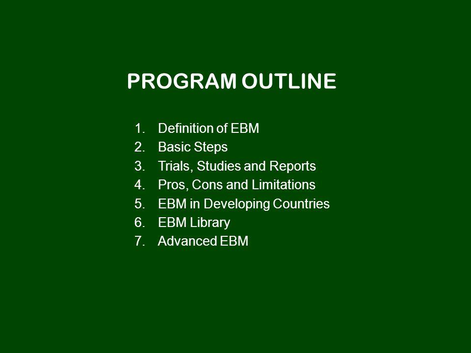 PROGRAM OUTLINE 1. 1.Definition of EBM 2. 2.Basic Steps 3.