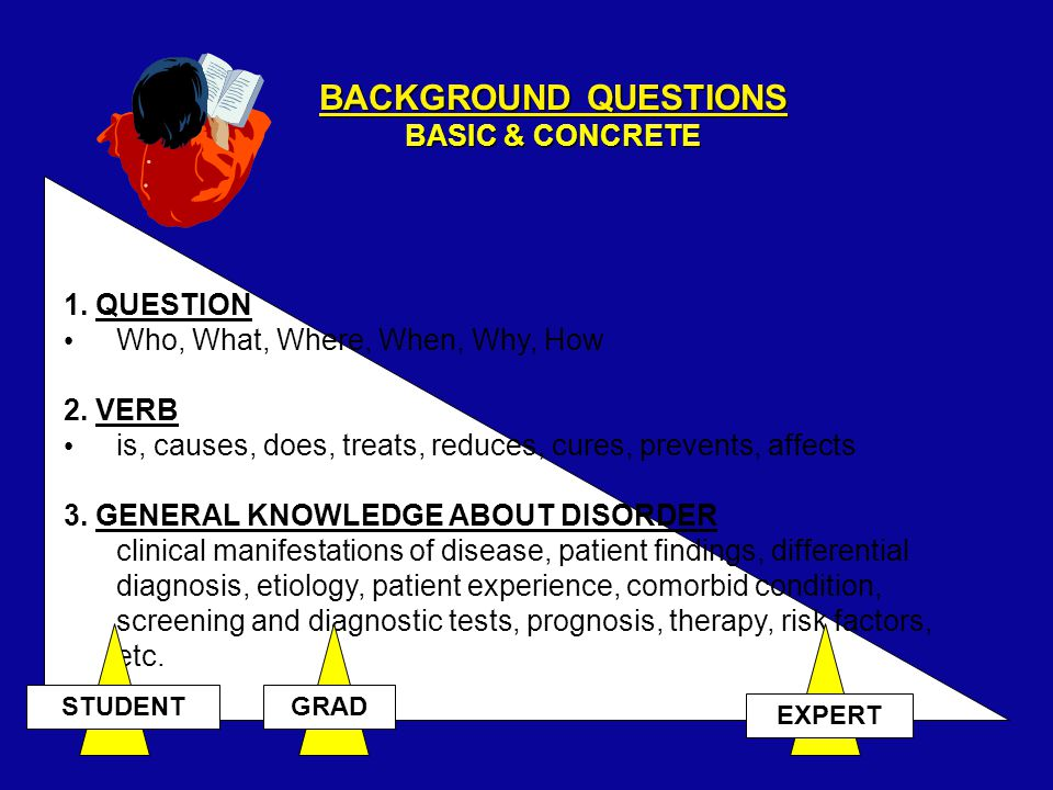 FOREGROUND QUESTIONS NEW POSSIBILITIES INDEFINITE ANSWERS PT AND/OR PROBLEM Differential dx, Unusual presentation, uncertain etiology, pt's prior experience, comorbid conditions INTERVENTION Exposure, test.