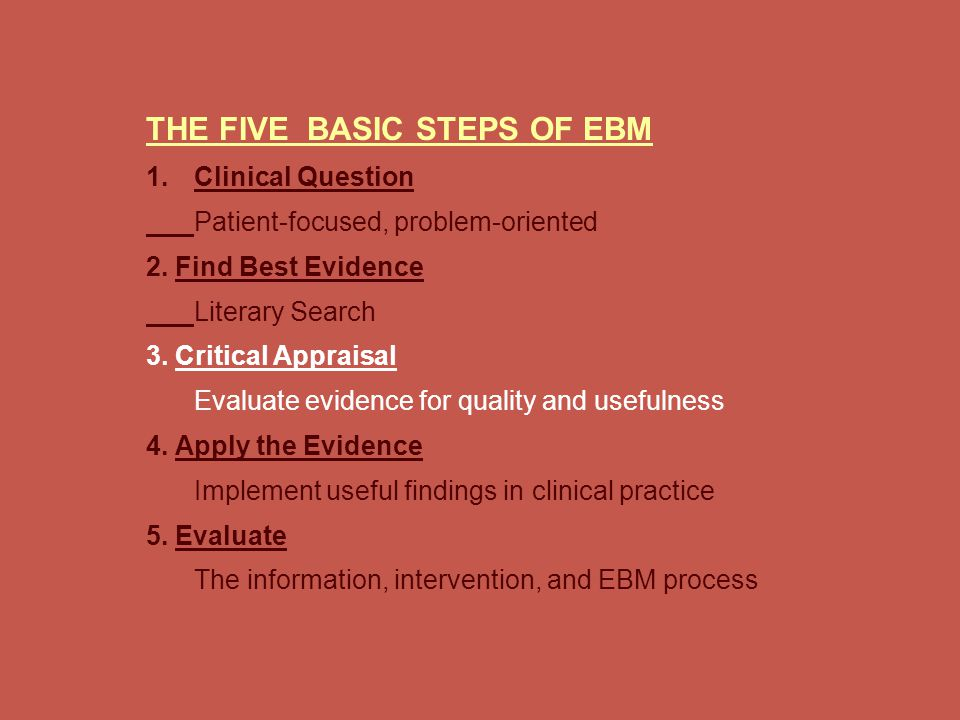 THE FIVE BASIC STEPS OF EBM 1. 1.Clinical Question Patient-focused, problem-oriented 2.