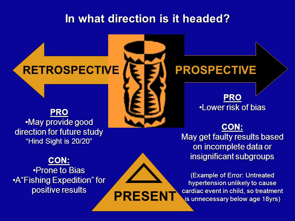 PRO May provide good direction for future studyMay provide good direction for future study Hind Sight is 20/20 CON: Prone to BiasProne to Bias A Fishing Expedition for positive resultsA Fishing Expedition for positive results PRO Lower risk of biasLower risk of biasCON: May get faulty results based on incomplete data or insignificant subgroups (Example of Error: Untreated hypertension unlikely to cause cardiac event in child, so treatment is unnecessary below age 18yrs) PRESENT In what direction is it headed.