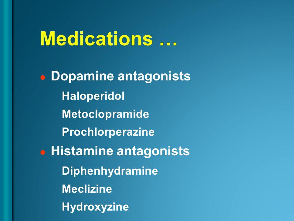 Medications … Dopamine antagonists Haloperidol Metoclopramide Prochlorperazine Histamine antagonists Diphenhydramine Meclizine Hydroxyzine