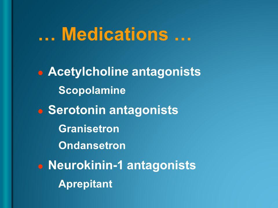 … Medications … Acetylcholine antagonists Scopolamine Serotonin antagonists Granisetron Ondansetron Neurokinin-1 antagonists Aprepitant