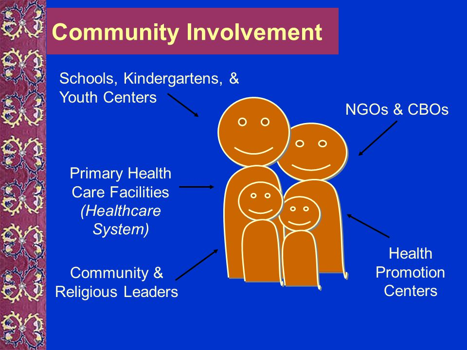 Community Involvement Schools, Kindergartens, & Youth Centers Primary Health Care Facilities (Healthcare System) Community & Religious Leaders Health Promotion Centers NGOs & CBOs