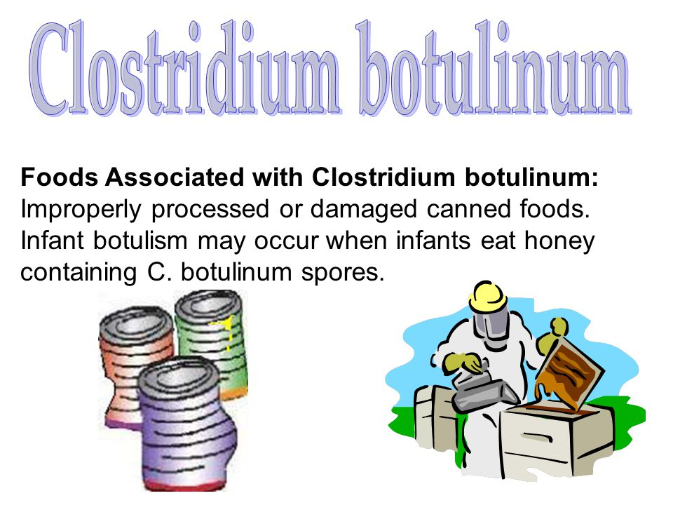 Foods Associated with Clostridium botulinum: Improperly processed or damaged canned foods. Infant botulism may occur when infants eat honey containing