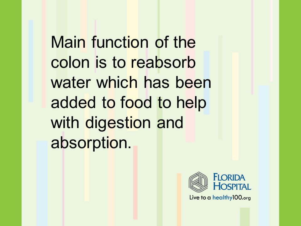 Main function of the colon is to reabsorb water which has been added to food to help with digestion and absorption.