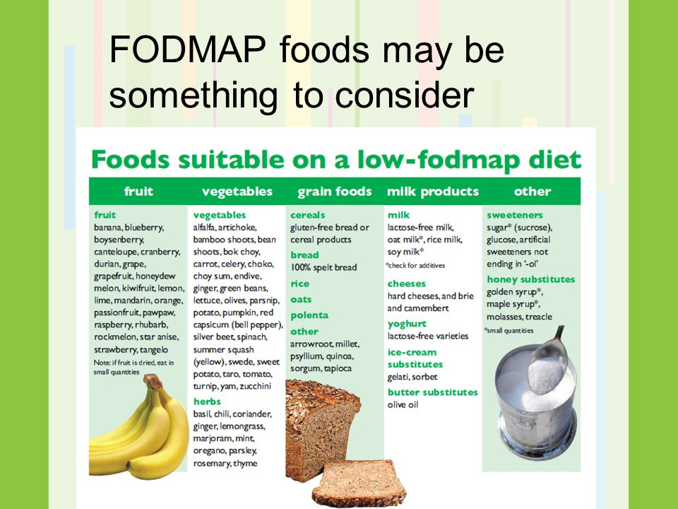 FODMAP foods may be something to consider